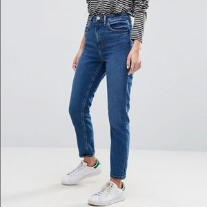 High waisted straight leg mom jeans